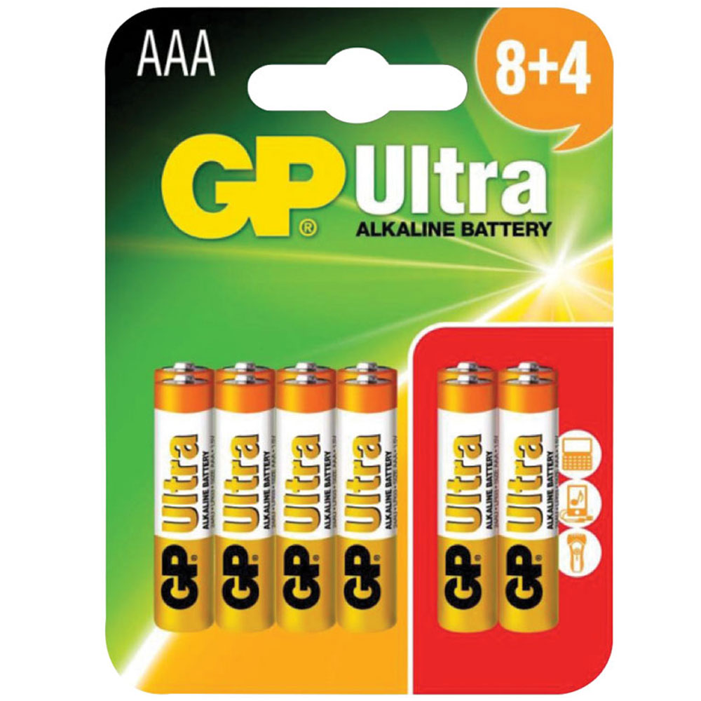 AAA alkaline batteries, GP Ultra (8+4 Free)